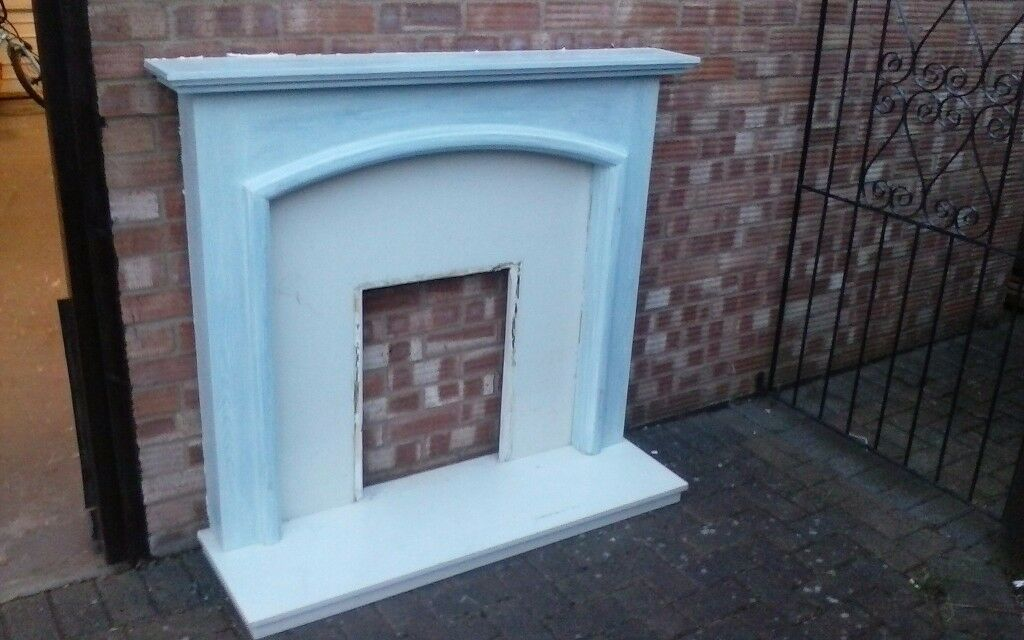 Wood Fire surround with marble back and half
