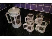 Cafetiere and 4 matching mugs