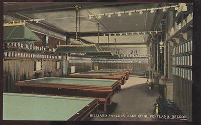 Postcard PORTLAND Oregon/OR  Elks Club Pool Room Billiard Parlor view 1907?