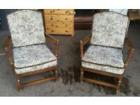 Pair of Ercol Old Colonial Ladder back Easychairs