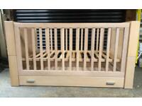 Kidsmill Kubus Solid White Washed Oak Cot Bed & Changing Chest - Scandi Design