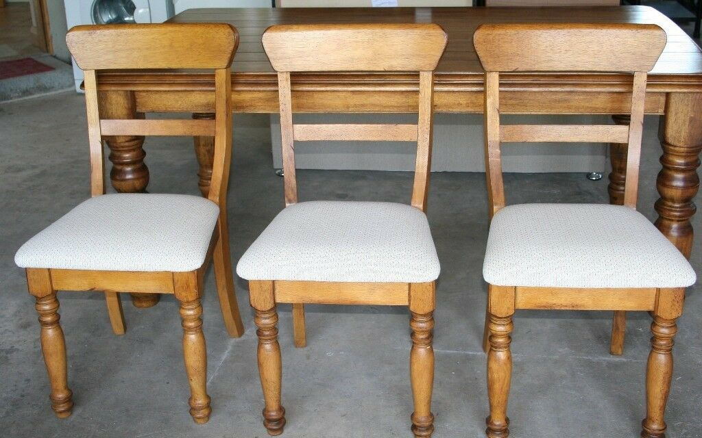 French Oak Dining Table 6 Chairs