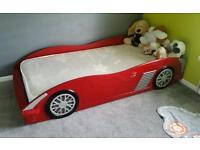 Racing car single bed boys red with mattress
