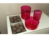 2 candle plates and 3 Ikea glass vases