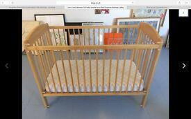 John Lewis baby wooden cot & mattress