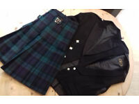 Gents Highland dress outfit, large. Black Watch kilt, waistcoat and jacket.