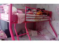 Pink triple bunk bed - no mattresses