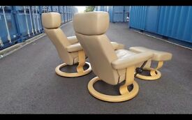 Ekornes Stressless Orion Two Matching Armchairs,Good Condition