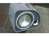 1200watt fli sub in box with built in amp kicks good