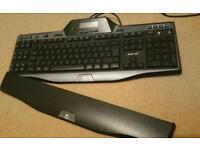 Logitech G510 gaming keyboard. Baclit, LCD display