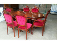 Inlaid Dining Table and 6 Chairs