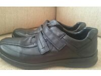 Hotter Medway Black Leather touch Close fastening shoe UK 12