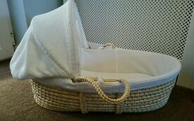 John Lewis White Moses Basket and Folding stand