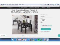 DINING TABLE AND 8 CHAIRS NOIR EXTENDING