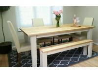 Stunning solid pine 6ft farmhouse table and 4 leather chairs and handmade bench