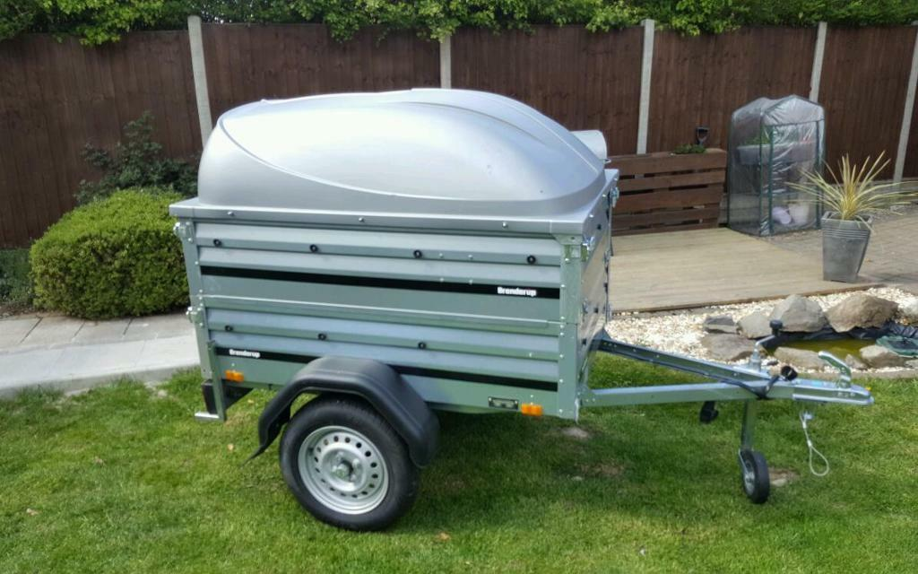 USED Brenderup 1150s Car trailer +extension sides +lockable Abs lid ...