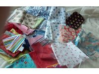 a variety of craft and quilting books, plus large variety of quilting fabrics.