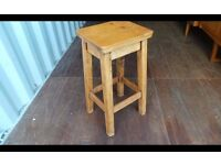 Antique Bar Stools Pair Wooden Solid Pine Tall Wood Chair