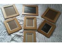 6 real oak picture frames and 1 oak effect frame