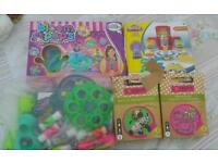 Toys/games-Minion playdoh,bloom pops,Dohvinci,where's my cupcake game,bracelet making,bottle dogs