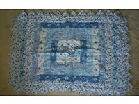 M&S Blue Floral Vintage Shabby Chic Patchwork Quilted Bedspread Throw + 2 Pillow Shams / pillows