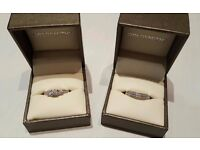 9ct white gold diamond engagement and wedding rings with receipts