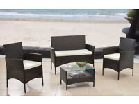 (Brand New) - 4PC Garden Rattan Sofa Chair Furniture Set - FREE DELIVERY - CASH ON DELIVERY