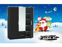 BRAND NEW 3 DOOR WARDROBE WITH MIRROR IN BLACK OR WHITE