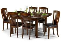 *FAST & FREE UK DELIVERY* Brand New Classic Mahogany Solid Wood Dining Table Set with Leather Chairs