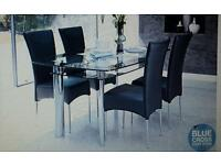 Glass dining table & 4 or 6 chairs