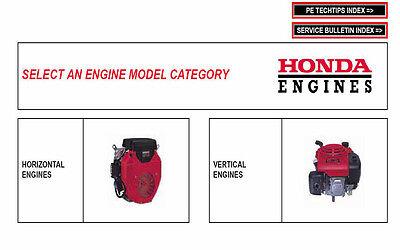 Honda Engine Master Workshop Service/Repair Manual CD