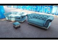 Two fabric vintage chesterfield sofas,can deliver