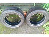 Car tyres - 2 used tyres in very good condition, from a micra