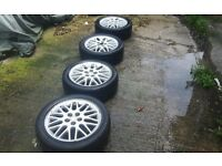 "4x 16"" 5x100 alloy wheels & tyres fitt vw polo and many others"