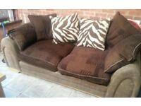 Brown 3 seater sofa Dfs scatter back