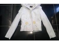 New leather finish coat jacket women 8 10 12 leggins trousers jumper cardigan dress skirt