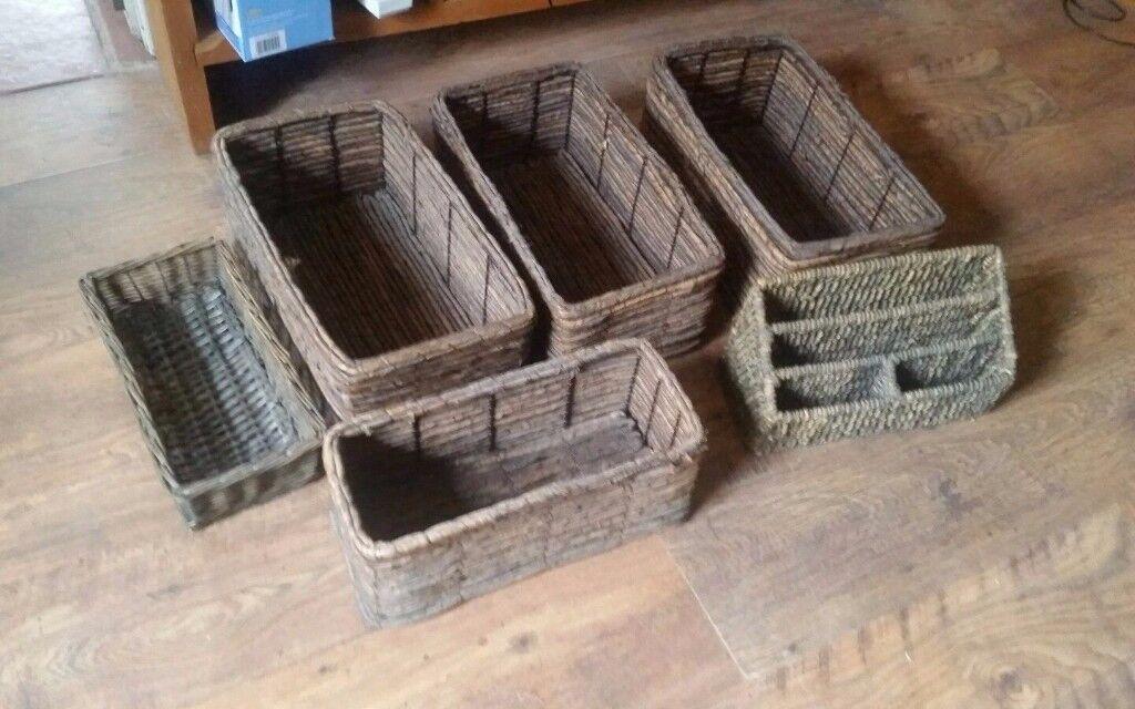 Weaved Storage Woven Baskets box Pen Paper holder