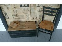 Vin/shabby chic wooden chest with an old style graphic.