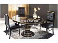 Versace style Rossella Italian Dining Table & Chairs in High Gloss finish with diamantee stone