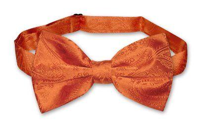 (Vesuvio Napoli BOWTIE Burnt Orange Color Paisley Men's Bow Tie for Tuxedo Suit)