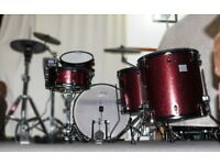 Jobeky PRO drum kit acoustic conversion electronic SHELL PACK red sparkle 1 up 2 down configuration
