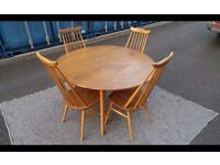 Ercol Vintage Elm Drop Leaf Oval Table And 4 Chairs,Delivery Available