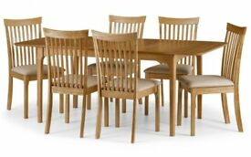*FAST & FREE UK DELIVERY* Brand New Real Oak Veneer Wood Extending Dining Table Set & Fabric Chairs