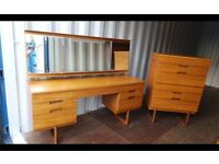 Retro Uniflex Teak Triple Mirror Dressing Table with Light And Chest,Can Deliver