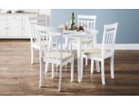 Coast white drop leaf round table + 4 chairs. New.