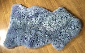 "Genuine Sheepskin rug. Bow Ron Goldstar. Cornflower blue 42"" x 27"""