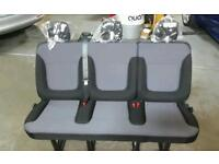 vauxhall vivaro / renault trafic new rear bench seat with seat belts and mushroom fittings