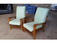 Pair of Reupholstered Vintage 1950's Armchairs