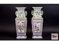 Chinese Mid 20th Century Impressive Pair of Hand Painted Twin Handle Tall Vases 16.5 inches tall