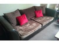 Leather and fabric dark brown deep sofa and chair